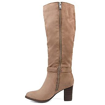Brinley Co Comfort Womens Side Strap Riding Boot Taupe, 11 Extra Wide Calf US