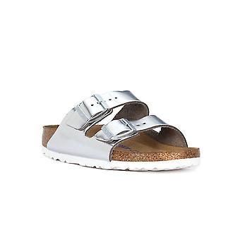 Birkenstock arizona metaliczne srebrne sandały