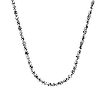 14k White Gold Hollow Rope Chain Necklace 4.9mm Lobster Claw Closure Jewelry Gifts for Women - Length: 18 to 30