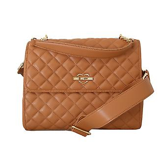 Moschino Beige Quilted Faux Leather Bag