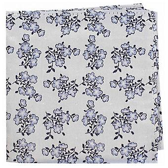 David Van Hagen Small Flowers Silk Pocket Square - Blue