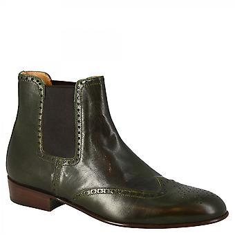 Leonardo Shoes Men-apos;s mi-brogues bottines en cuir de chèvre vert