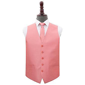 Saumon rose Plaine Shantung Wedding Waistcoat et; Ensemble d'attaches