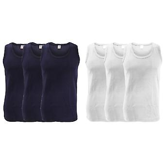 FLOSO Mens Interlock Single Vest (Pack Of 3)