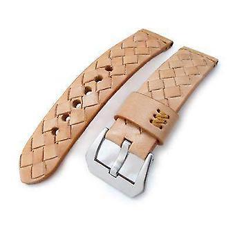 Strapcode الجلود ووتش حزام miltat zizz جمع 22mm مضفر ربلة الساق حزام ساعة جلدية، lv البيج، غرز تان