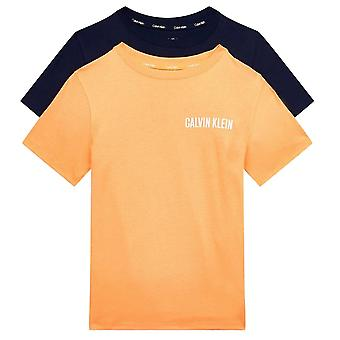 Calvin Klein Boys 2 Pack Intense Power Short Sleeve T-shirt - Tangerine/Black Iris