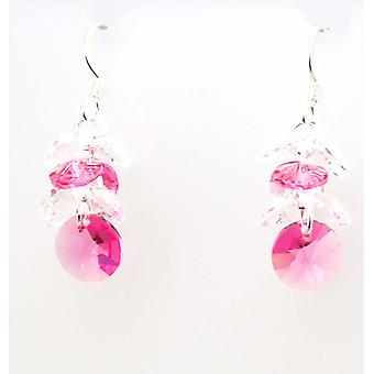 Ellugo Pink and Clear Crystal Cluster Drop Earrings with Swarovski Elements