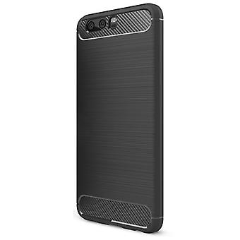 Shell para Huawei P10 Carbon Fiber Armor Case Protection TPU Black