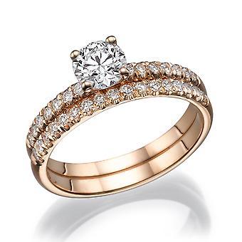 3/4 Carat G SI2 Diamond Engagement Ring 14k Rose Gold Bridal Set Engagement Set Micro Pave