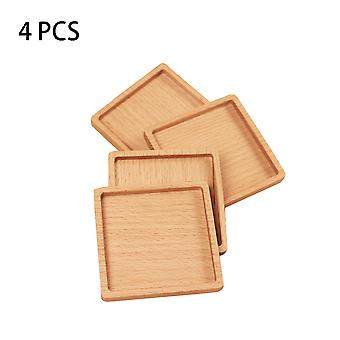 4 Pcs Beech Wood Coaster