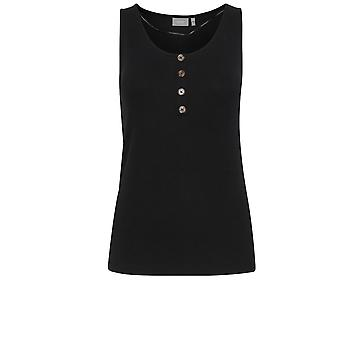 b.young Black Fine Ribbed Vest Top