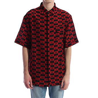 424 0024red Men's Red Viscose Shirt