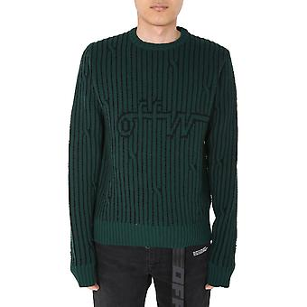 Off-white Omhe043e20kni0015700 Mænd's Grøn Uld Sweater