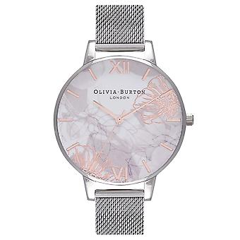 Olivia Burton Womens Abstract Flo Watch Quartz Mouvement Acier inoxydable