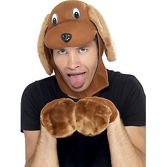 Hunden Hat hundene satt beanie lue med hansker til animal kostyme