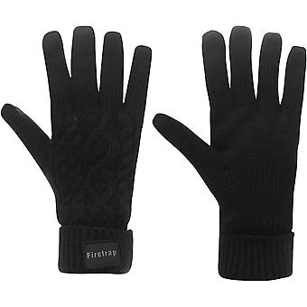 Firetrap Cable Knit Gloves Mens