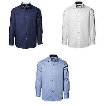 ID мужской классический легкий утюг контраст длинные регулярные фитинг формальной рубашки