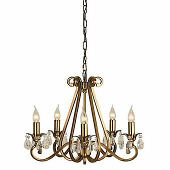 5 Light Multi Arm Ceiling Pendant Chandelier Antique Brass