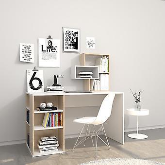 White Ermes Desk, Sonoma em Chip Melaminic 130x60x75 cm,60x20x60 cm