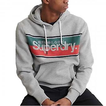 Superdry Core Stripe Hoody Sweatshirt Grey 07Q