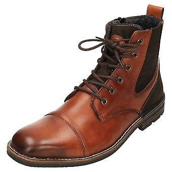 Rieker F1324-24 Leather Derby Ankle Boots Lace Up Zip