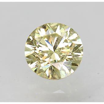 Cert 0.46 カラット ファンシー イエロー VS2 ラウンド ブリリアント エンハンスナチュラル ダイヤモンド 4.78mm