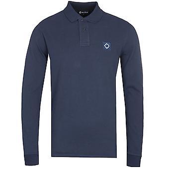 MA.Strum Long Sleeve Cotton Pique Navy Polo Shirt