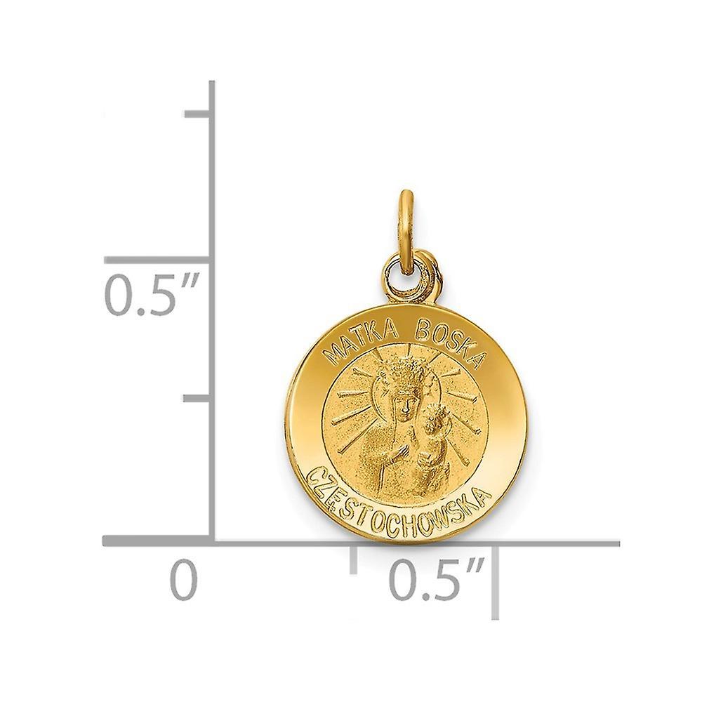 14 k Gelbgold solid enblich zurück Reversible poliert und satin Matka Boska Medaille Charme Anhänger Halskette Maßnahmen 11 x 11mm