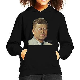 Lørdag kveld Post John F Kennedy Norman Rockwell Cover Kid's Hette Sweatshirt