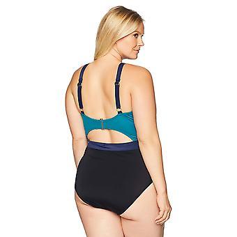 Coastal Blue Women's Plus Size Colorblock Halter Neck Cut Out One Piece Swims...
