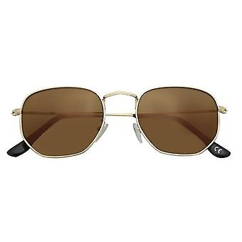 Zonnebril Unisex Jimmy Kat. 3 rechthoekig goud/bruin