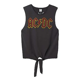 Zesílené AC / DC Logo Bez rukávů Ženy&s T-Shirt Charcoal