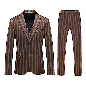 Allthemen Men's 3-piece Elegant Single-breasted Business Striped Suit