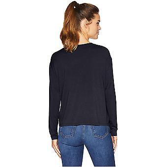 Brand - Daily Ritual Women's Jersey Long-Sleeve Boxy Pocket Tee, Navy, Large