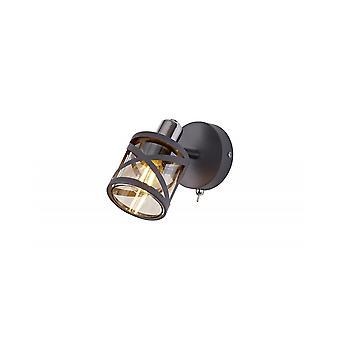 Polly 1 Light Spotlight E14, Matt Grey/polished Chrome/cognac