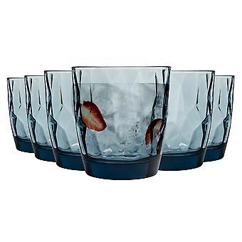 Bormioli Rocco Diamond Dimpled Glas Drinking Tumblers - Ocean Blue - 300ml - Pack af 6