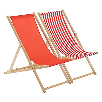 Traditional Adjustable Beach Garden Deck Chairs - Red / Stripe
