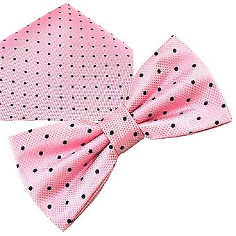 Ties Planet Gold Label Pink & Navy Blue Polka Dot Silk Bow Tie & Pocket Square Handkerchief Set