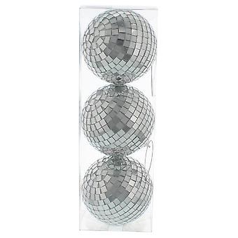 3 8cm Mirror Ball Christmas Tree Hanging Decoration Bauble