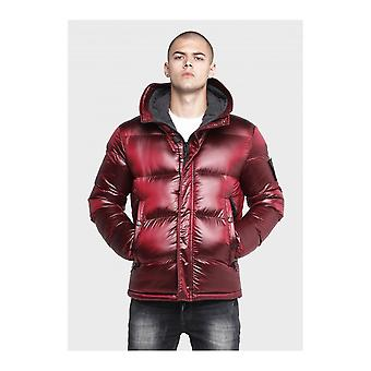 883 Police Anglo Puffer Hooded Burgundy Jacket