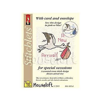 Unisex Baby Arrival - Stitchlets Small Counted Cross Stitch Card Making Kit