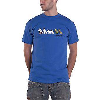 Moomins T Shirt Trail Logo nouveau officiel Mens Blue