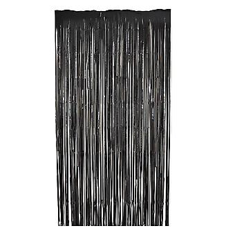 TRIXES Black Foil Curtain Party Backdroment Fringe Décorations pour parties - 2M