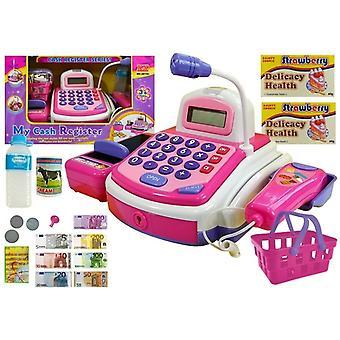 Spielzeugkasse mit Zubehör wie Scanner und Produkten
