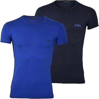 Emporio Armani 2-Pack Eagle Logo Crew-Neck T-shirts, Blå/Navy