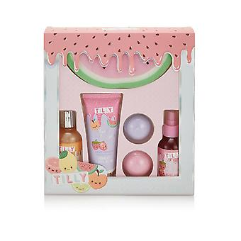 Tilly & Friends Fruity Blockbuster Gift Set - 120ml Bubble Bath, 100ml Body Mist Cherry, 100ml Hand Lotion, 2 x 50g Bath Fizzers, Watermelon Sponge V2020