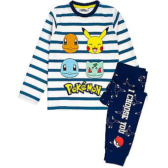 Pokemon Pyjamas For Boys | Kids Pikachu, Charmander, Squirtle & Bulbasaur Striped T Shirt & Trousers Pajamas | Children's Long Sleeve Navy & White Sleepwear Set