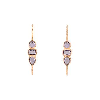 Gemstone Hoop Earring Rose Gold Amethyst Purple Stud Statement Geometric 925
