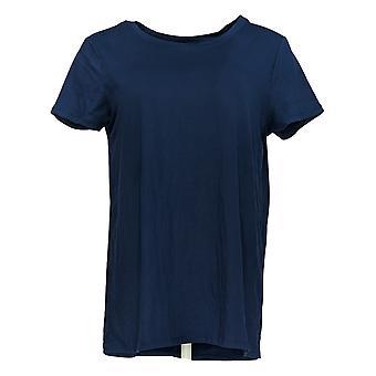Cuddl Duds Women's Top Flexwear Short Sleeve Split Back Blue A346813