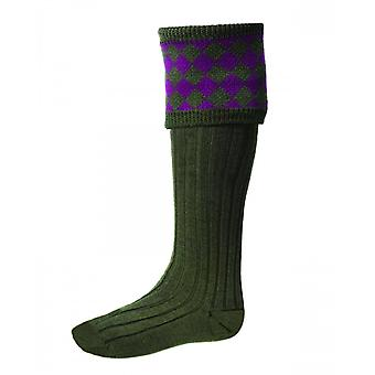 House of Cheviot Country Socks Chessboard ~ Spruce